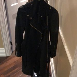 Black Mackage jacket with leather sleeves
